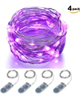 Micro LED String Lights Battery Powered ITART Set of 4 Purple Mini String Light 20 LEDs / 6ft (2m) Ultra Thin Silver Wire Rope Lights for Christmas Trees Wedding Parties Bedroom