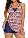 Sidefeel Women Print Flowy Tankini Top with Boyshorts Two Piece Swimsuit Set