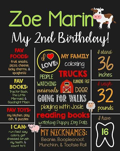 Dozili Personalized Farm Theme Birthday Chalkboard Style Metal Sign Country Printable 2nd