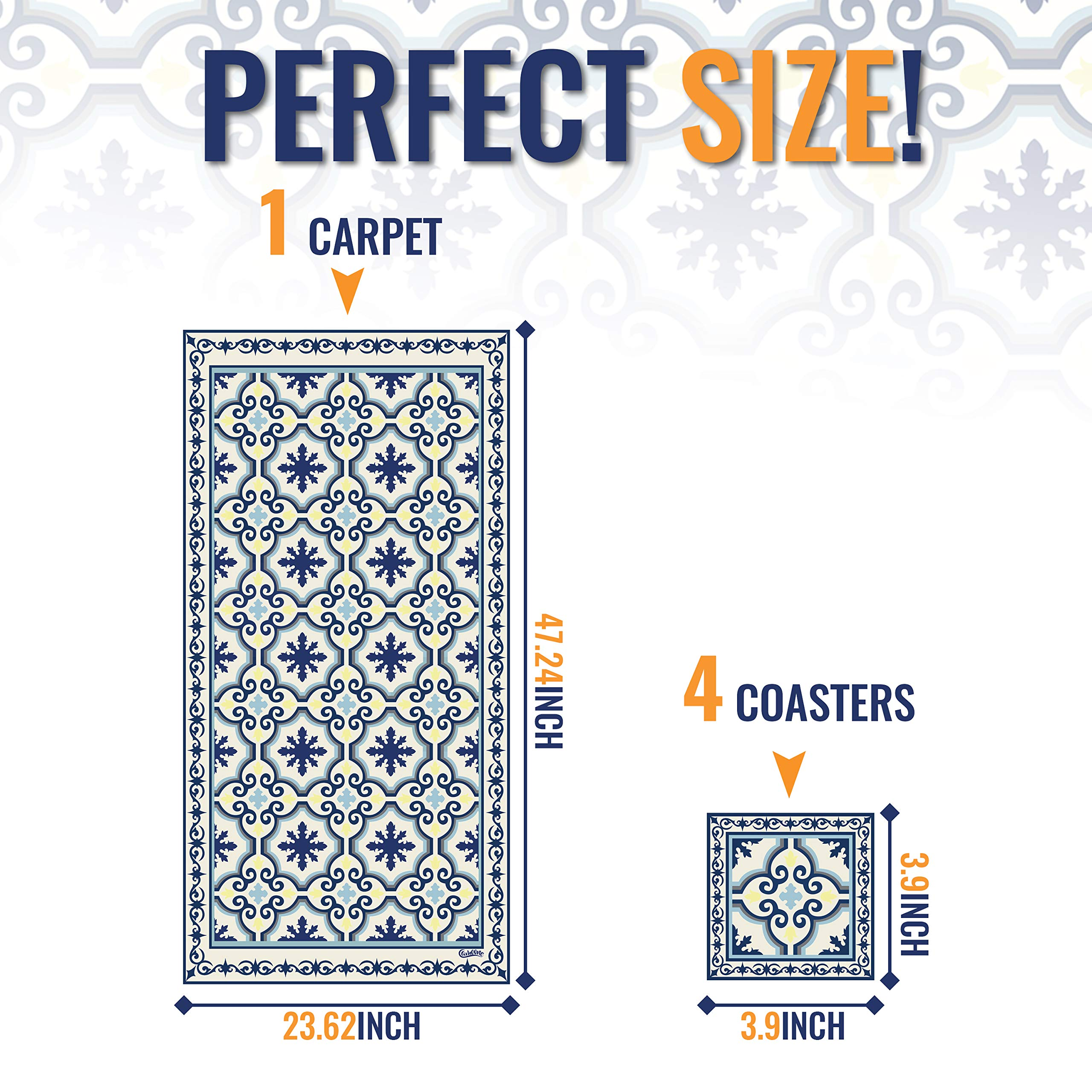 Camoone Non Slip Kitchen Mat + 4 Free Coasters - (Greek Garden) Blue & Off-White Decorative Vinyl Kitchen Floor Mat - Hypoallergenic, Insulated, Non-Fading, Easy to Clean and Non-Toxic''47.2x23.6x0.08'' by Camoone (Image #5)