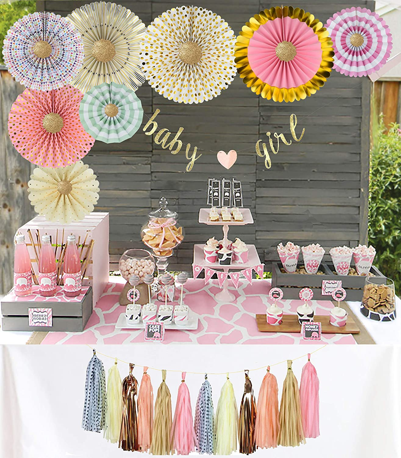 84249052b9ddf YARA Premium Baby Shower Decorations Kit for Girls| Pink and Gold Party  Supplies| Paper Fans| Pink Party Decorations| Baby Girl Banner| Hanging| ...