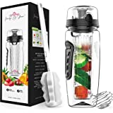 Fruit Infuser Water Bottle 32 oz: Flavored Water & Tea Infusion for Hydration, Protein Shake Sports Container, Leak-Proof Lid, Long Infuser Basket – with Sleeve, Cleaner Brush & Mix Ball
