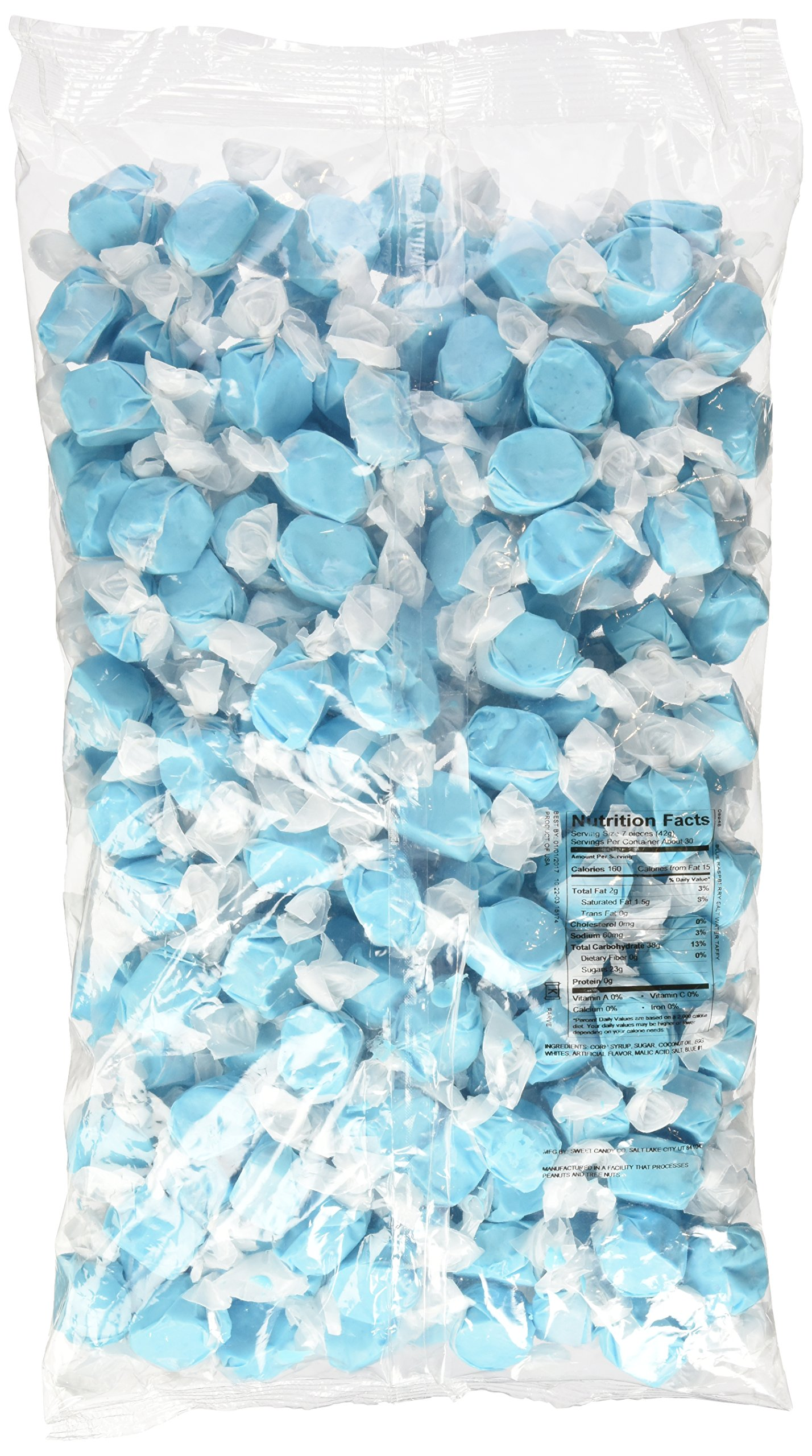 Blue Raspberry Saltwater Taffy 3 Pound Bag by Sweets