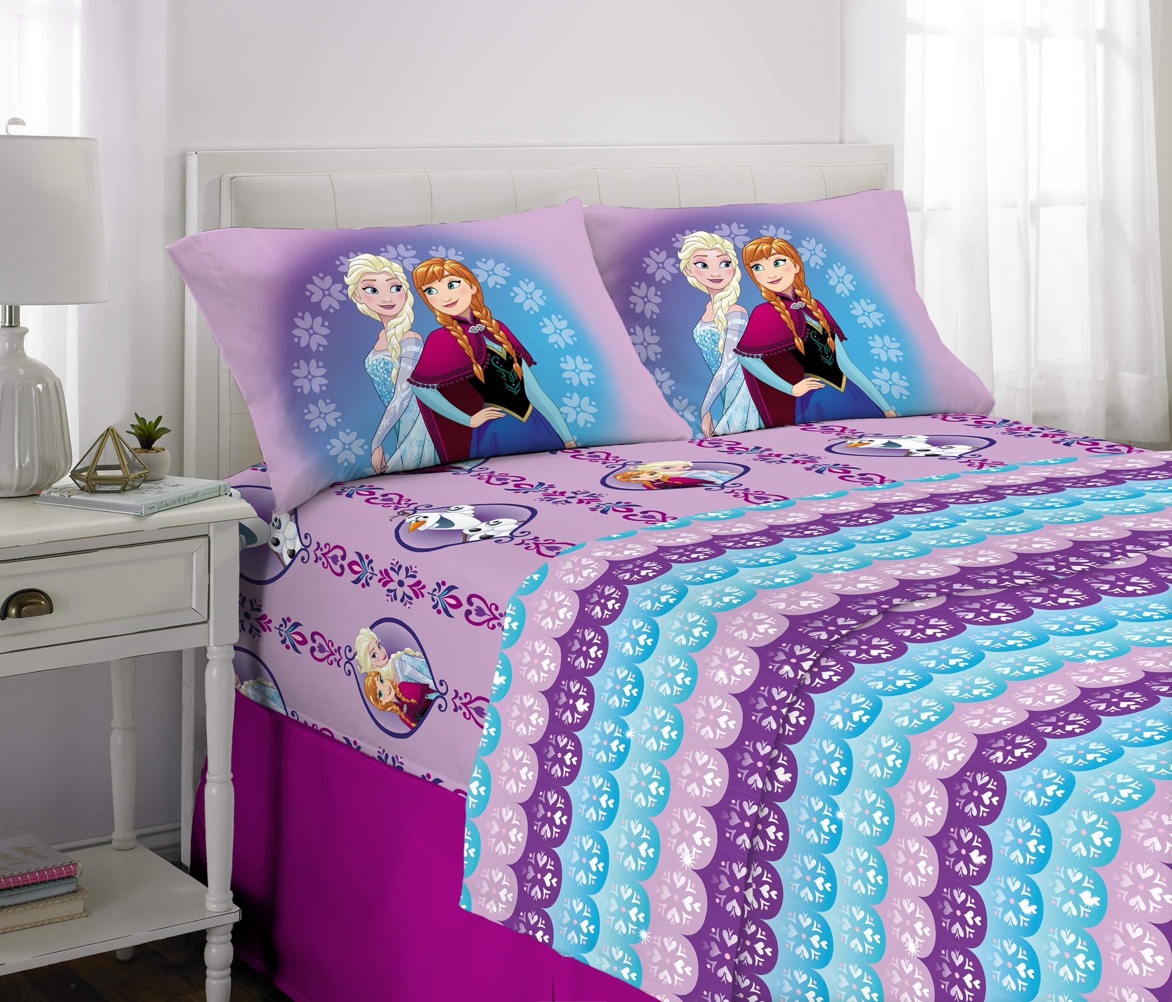 Disney Frozen Kids Bedding Soft Microfiber Sheet Set, Full Size 4 Piece Pack by Disney