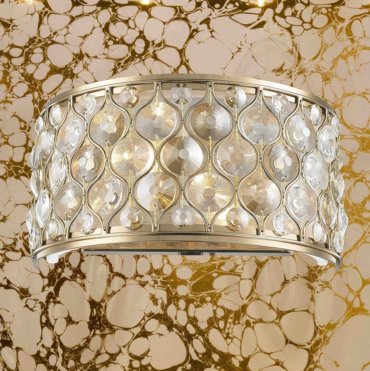 Worldwide Lighting WS410CG12-CM Paris Collection 2 Light Champagne Finish with Clear and Golden Teak Crystal Wall Sconce W12H6 Small