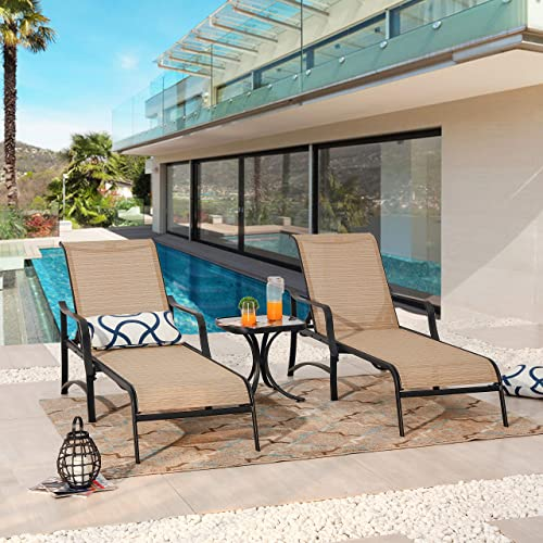 PatioFestival Patio Chaise Lounge Outdoor Adjustable Back Metal Lounge Chair with Bistro Table 3 Pieces for Porch Backyard Pool