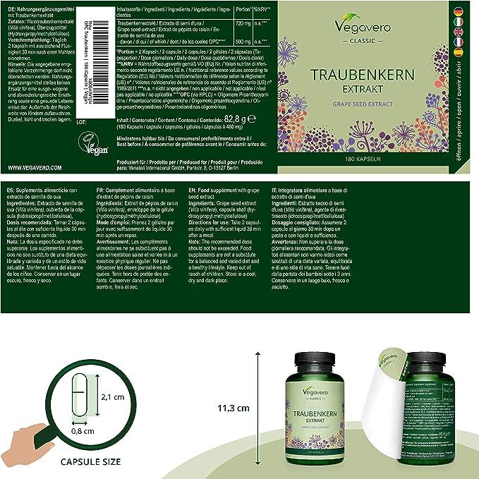 OPC Vegavero® | 720 mg de Extracto de Semilla de Uva con 70% de OPC | Sin Aditivos | 180 Cápsulas | Testado con Método HPLC | Antioxidantes + ...