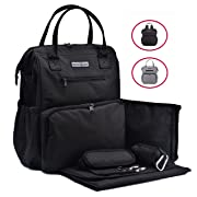 Sale!!! Rascal Gear Multipurpose Waterproof Baby Diaper Bag Backpack, Tote, Shoulder or Cross Body with Insulated Bottle Pockets, Stroller Straps, Changing Pad, Wet Bag; The Darlene Bag (Black)