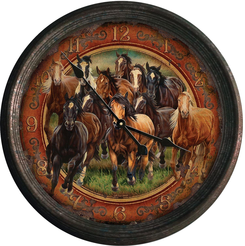 Running Horses Vintage Wall Clock