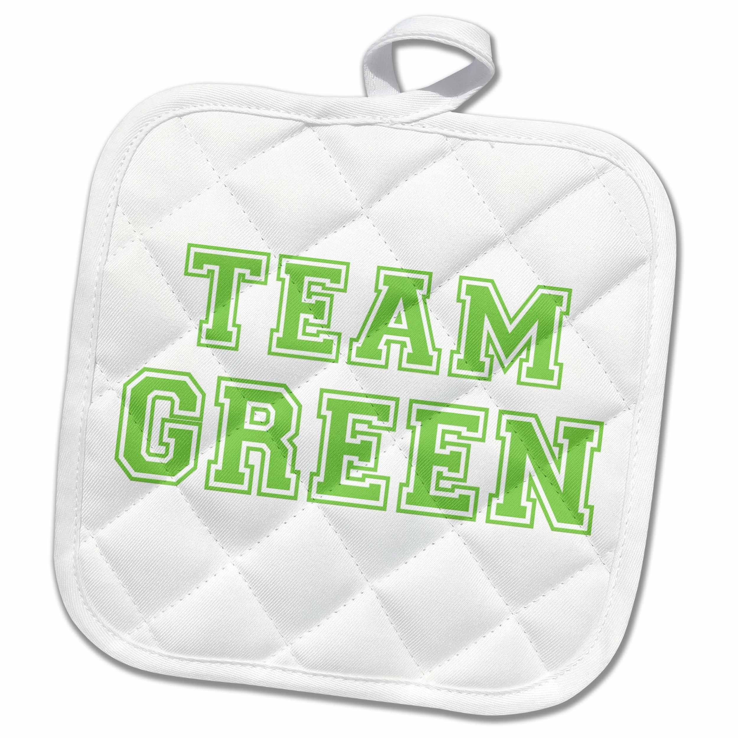 3dRose InspirationzStore Typography - Team Green - retro sporty college sports font - eco-friendly save the planet earth awareness support - 8x8 Potholder (phl_151276_1)