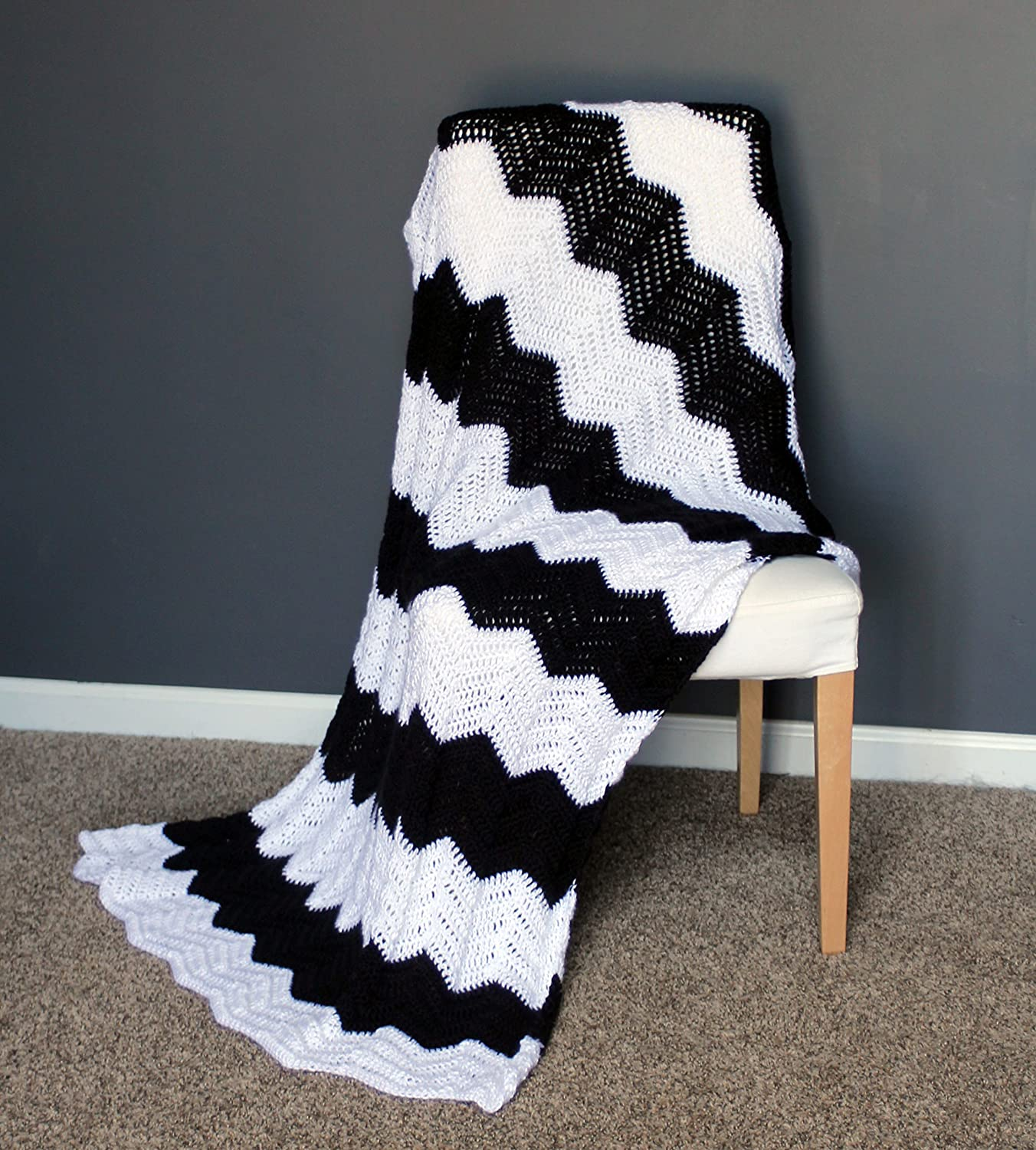 Image of Chevron Afghan Throw Blanket Crochet - Black and White Striped Ripple Zig Zag - Made To Order Home and Kitchen