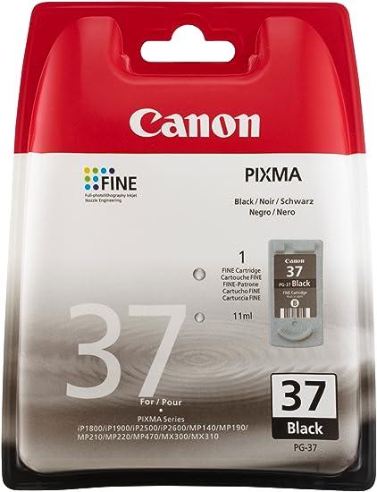 Canon PG-37 Cartucho de tinta original Negro para Impresora de ...