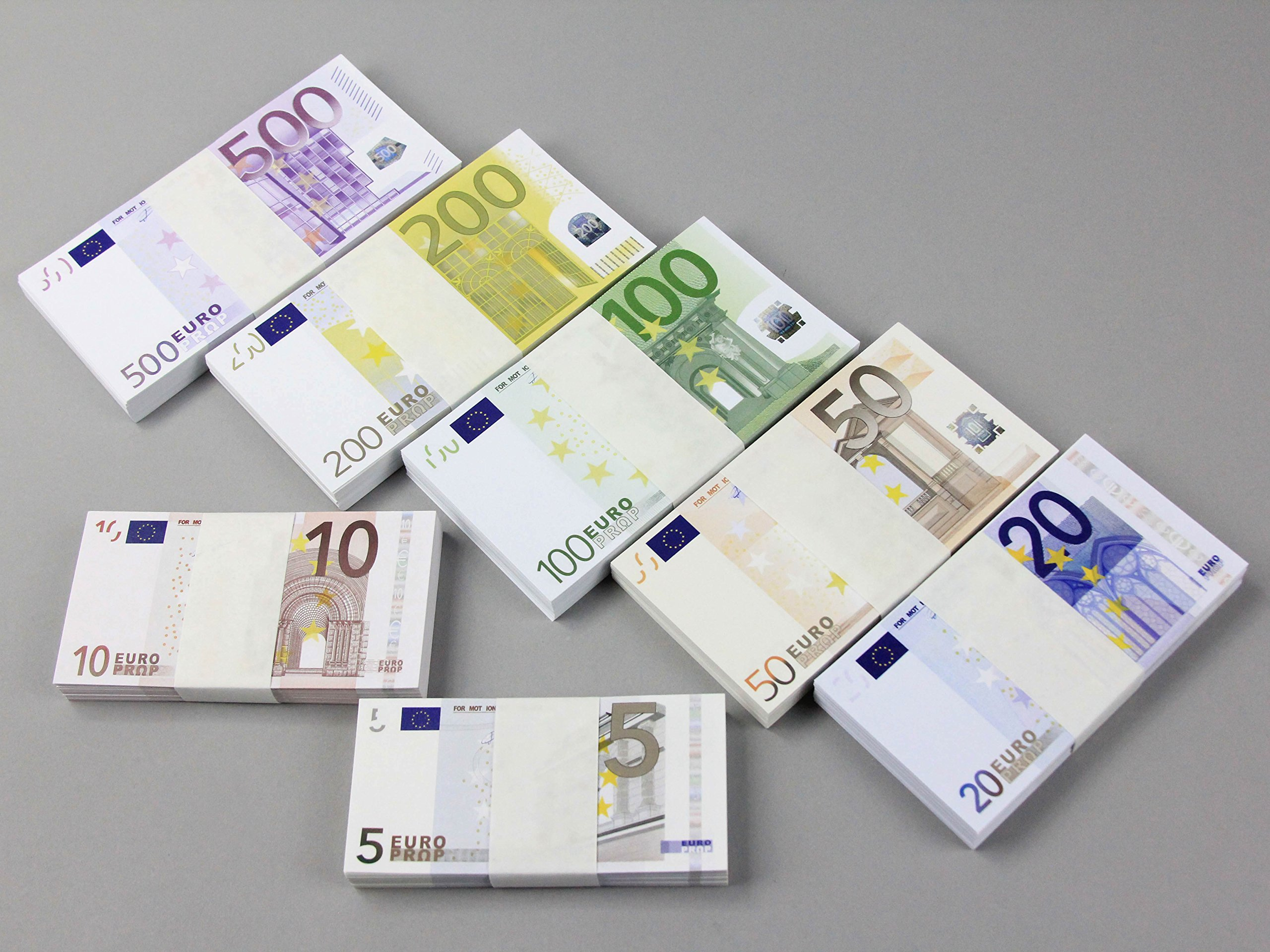 Euros ALL DENOMINATIONS Full Print Copy Double Sided Prop Money Pack for Movie, TV, Videos, Advertising & Novelty