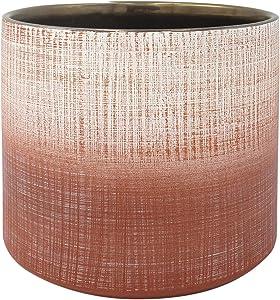 "Amazon Brand – Rivet Rustic Stoneware Crosshatch Indoor Outdoor Flower Plant Pot, 7.9"" High, Coral"