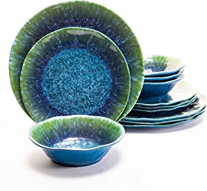 Melamine Dinnerware Set 12 PCS Teal Turquoise Tableware Plates Bowls Blue Green Dishwasher Safe Not Microware Not Oven
