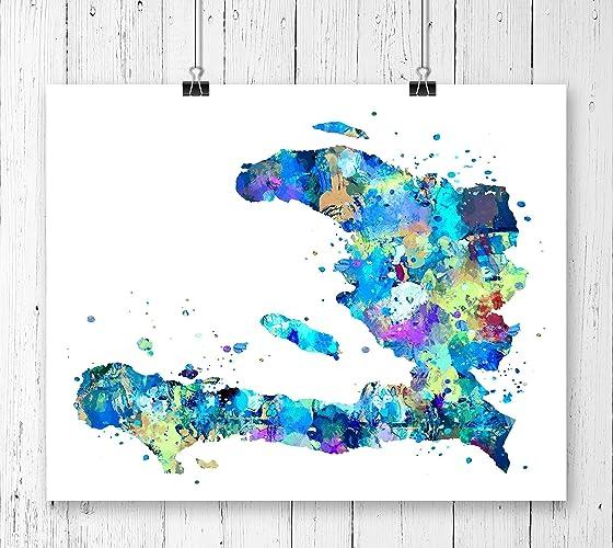 Amazon.com: Haiti Map Art Print, Poster, Wall Art, Contemporary Art ...