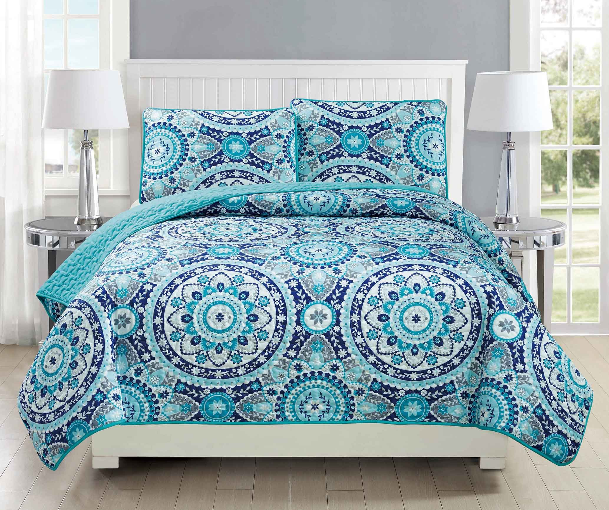 Mk Collection 3pc Bedspread coverlet quilted Floral Turquoise Teel Blue Grey Over Size New #185 King/California King Over Size by MK Home