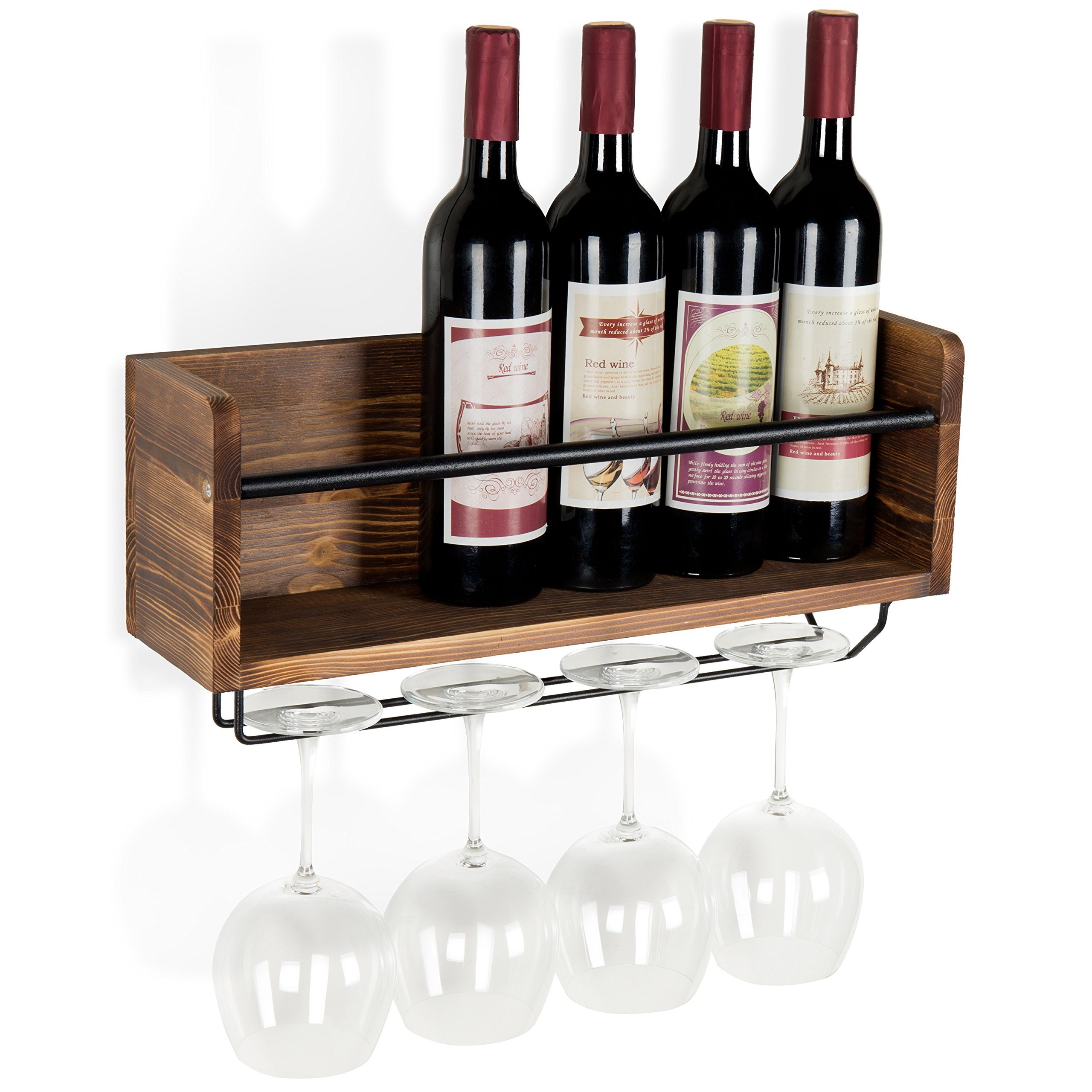 MyGift Industrial Style Wall-Mounted Wood 5-Wine Bottle Rack with 4-Stemware Holder, Brown