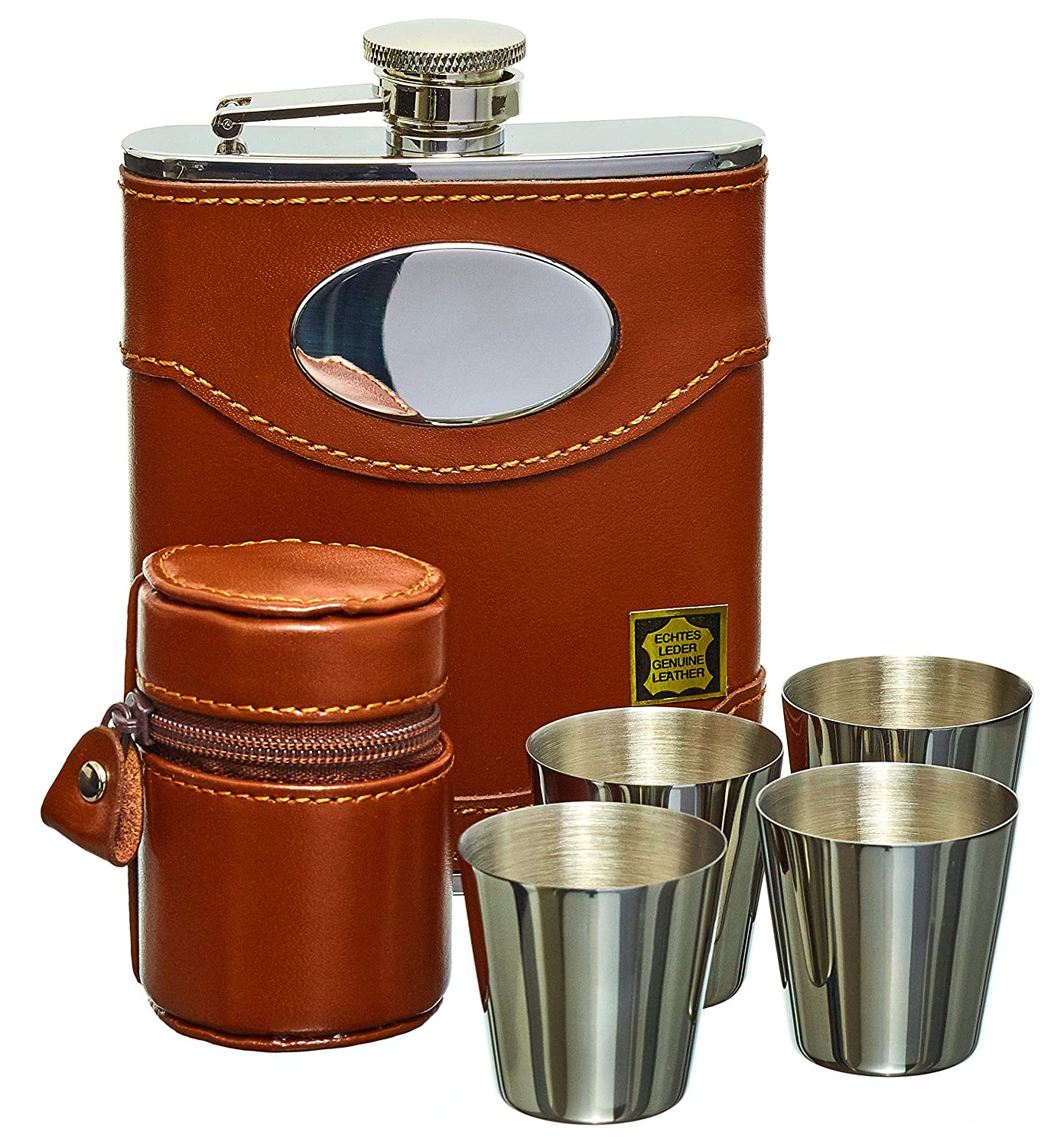 Hip Flask Set, Whiskey Flask Set - 6oz Brown Leather Hip Flask With Engravable Silver Plate + 4 Stainless Steel Cups, Made From Premium Grade Spanish Leather Including Gift Box From Gentlemans Gifts Online