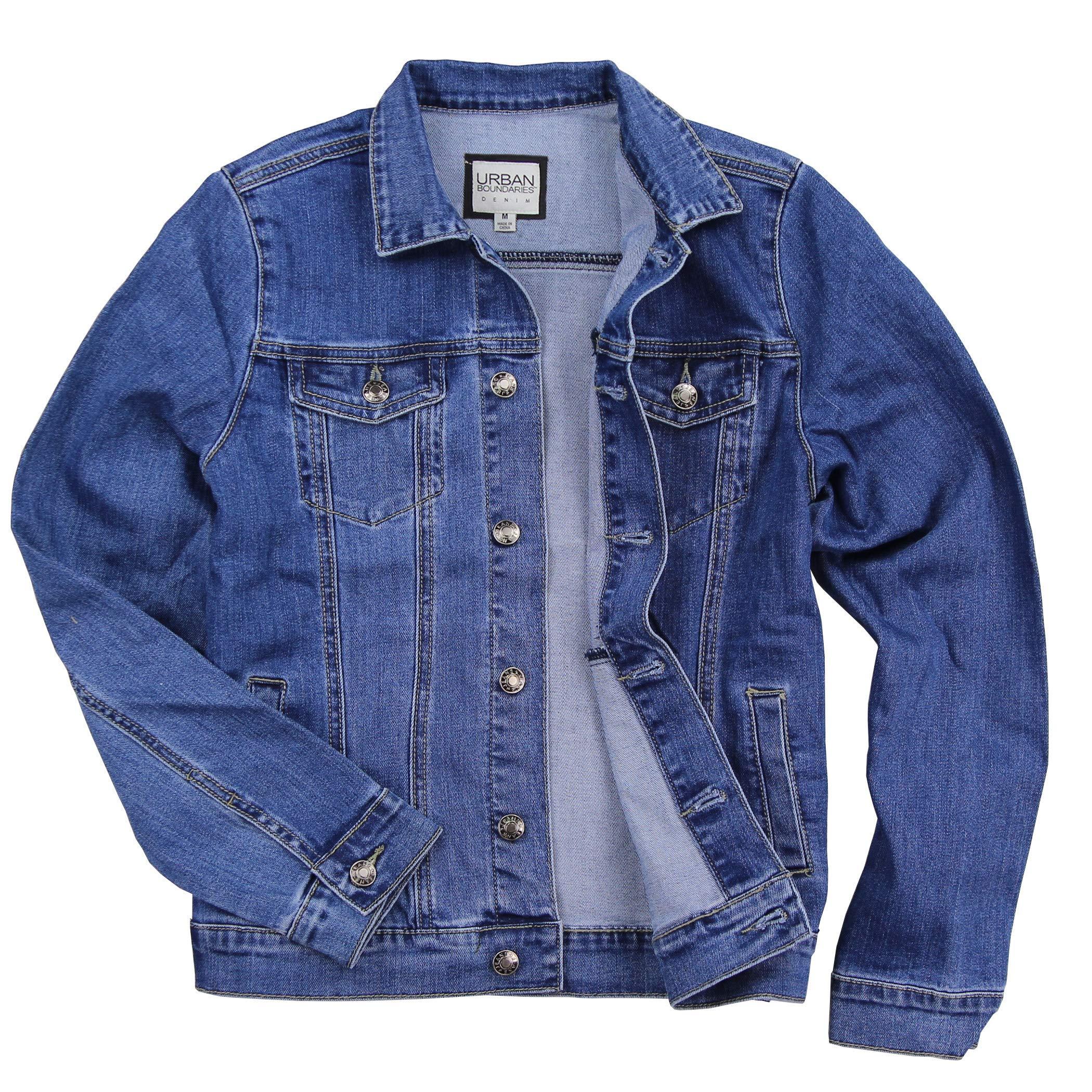 Women's Classic Comfort Fit Denim Jacket (Medium Blue, Large)