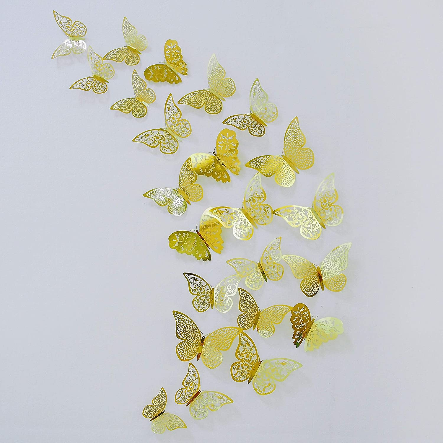 pinkblume Gold Butterfly Decorations Stickers 3D Butterfies Wall Decor DIY Home Decorations Removable Wall Decals Murals for Home Living Room Babys Kids Bedroom Showcase Nursery Art Decor (36PCS)