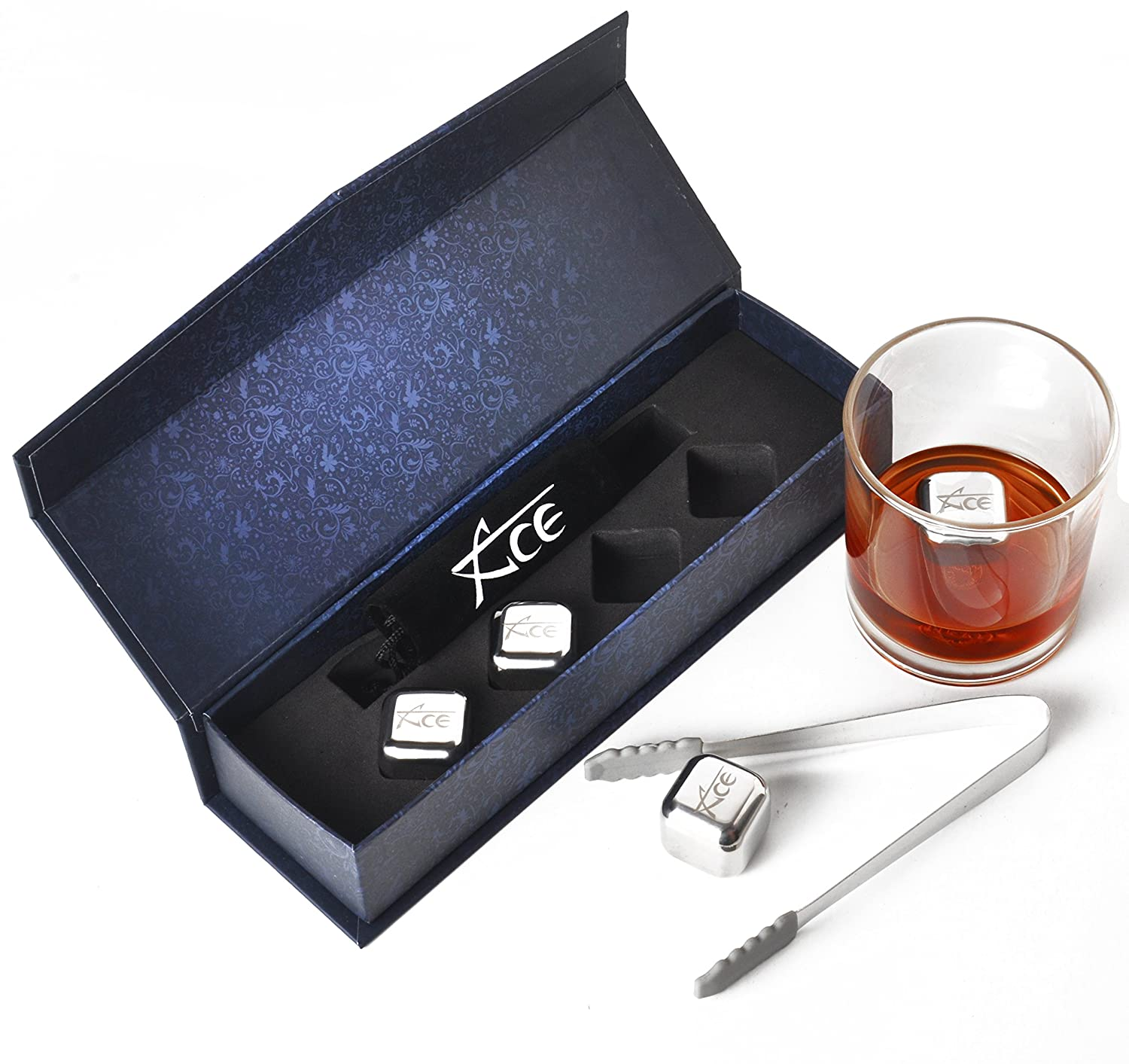 ACE Whiskey Stones - Rock Your Party With Stylish Reusable Stainless Steel Ice Cubes! Comes In Classy EVA Gift Box. See B01M9F7CYM For Tongs Option ACE XChange HK-001