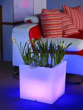 Blumenkübel Pflanzkübel Blumentopf LED Quader 38 Cm Für Innen Und Außen,  Garten Terrasse Vorgarten,