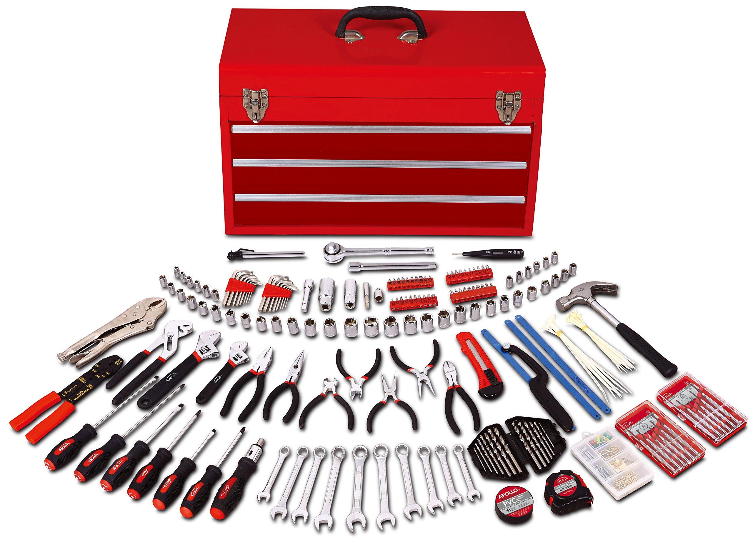 Apollo Tools DT6803 297 Piece Mechanics Tool Kit in Three Drawer Steel Tool Box