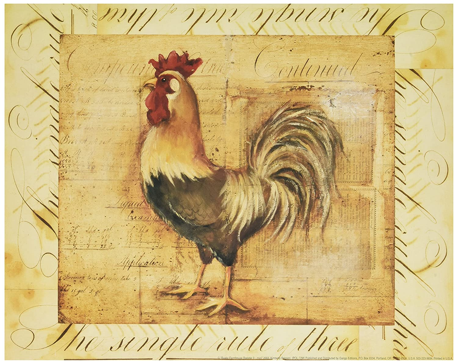 Amazon.com: Wallsthatspeak 2 Rustic Rooster Country Kitchen Art Prints Home  Decor, 8 By 10 Inch, Beige: Art Paints: Posters U0026 Prints