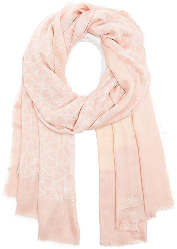 Calvin Klein Ck Allover Scarf, Bufanda para Mujer, Rosa (Soft Pink Mix), Talla Única