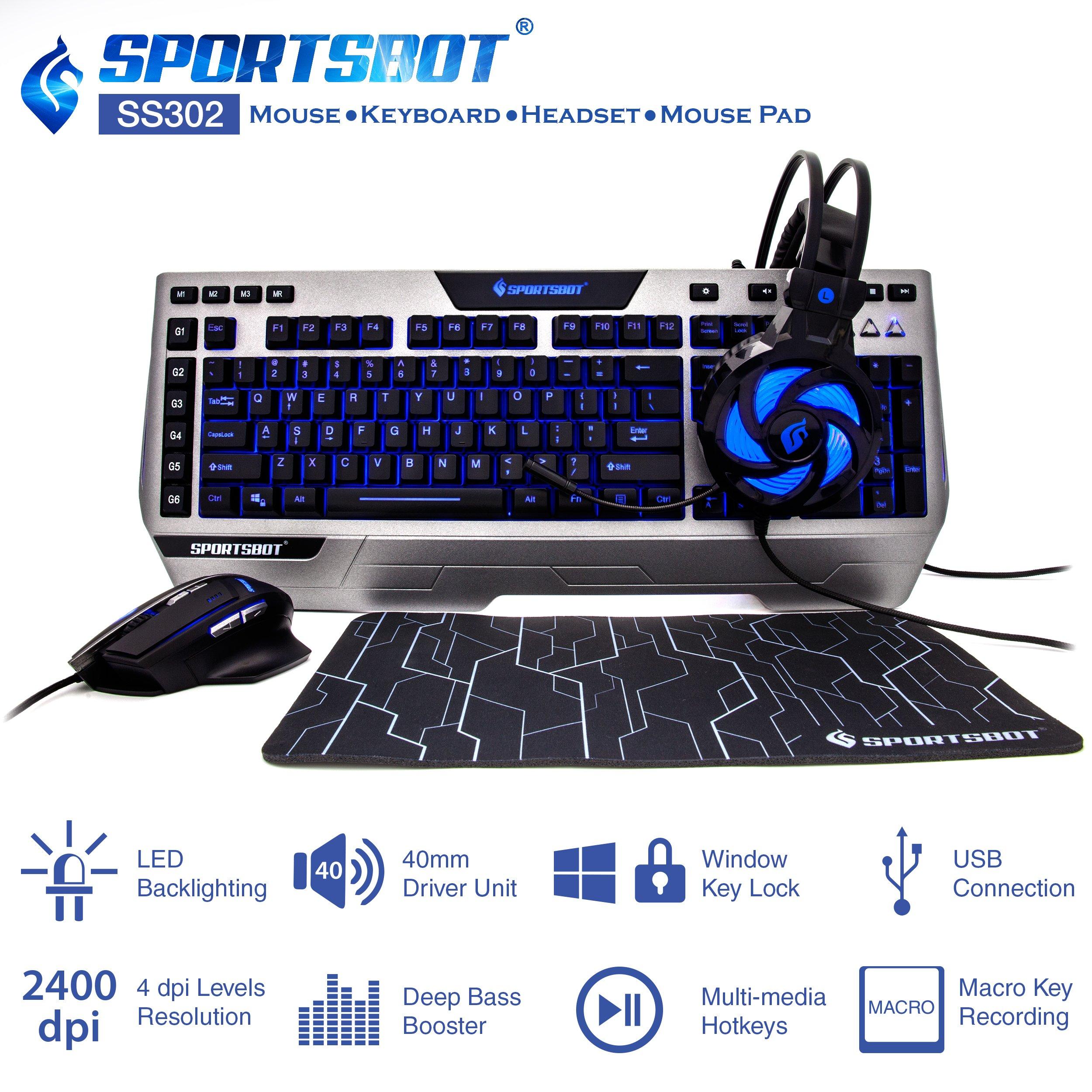 SportsBot SS302 4-in-1 LED Gaming Over-Ear Headset Headphone, Keyboard, Mouse & MousePad Combo Set w/ 6 Programmable Macro Keys, 3 Macro Modes, 40mm Speaker Driver, Microphone by Soundbot