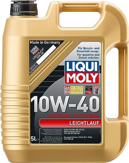 Liqui Moly 1310 Leichtlauf 10W-40 - Aceite antifricción Mineral para Motores de Gas GNC/GLP (5 L): Amazon.es: Coche y moto