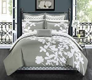 Chic Home 7 Piece Iris Reversible Large Scale Comforter Set, King, Grey