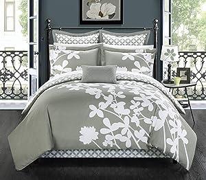 Chic Home 7 Piece Iris Reversible Large Scale Comforter Set, Queen, Grey
