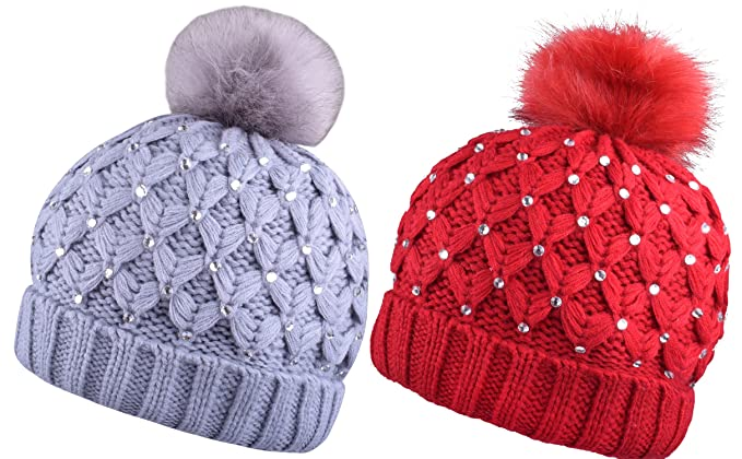 24885dd7a38 Women Beanie With Pom Knit Hat Warm Pompom Hats Ski Beanies Caps 2Pcs