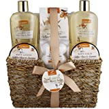 Home Spa Gift Basket - White Rose & Jasmine - Luxurious 11 Piece Bath & Body Set For Men & Women, Contains Shower Gel, Bubble Bath, Body Lotion, Scrub, Bath Salt, 4 Bath Bombs, Back Scrubber & Basket