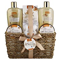 Home Spa Gift Basket - White Rose & Jasmine - Luxury 11 Piece Bath & Body Set for Women, Christmas Gift with Shower Gel, Bubble Bath, Body Lotion, Scrub, Bath Salt, 4 Bath Bombs, Loofah & Basket