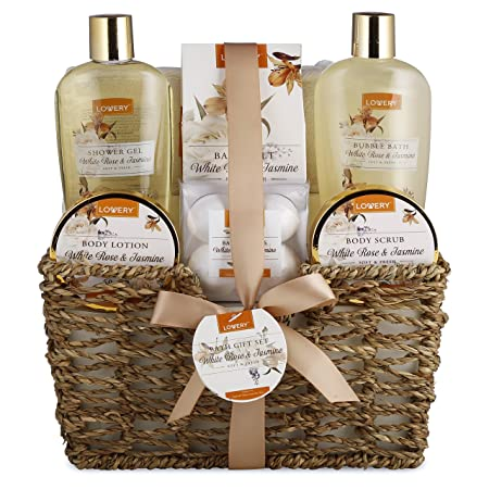 Home Spa Gift Basket – White Rose Jasmine – Luxurious 11 Piece Bath Body Set For Men Women, Contains Shower Gel, Bubble Bath, Body Lotion, Scrub, Bath Salt, 4 Bath Bombs, Loofah Basket