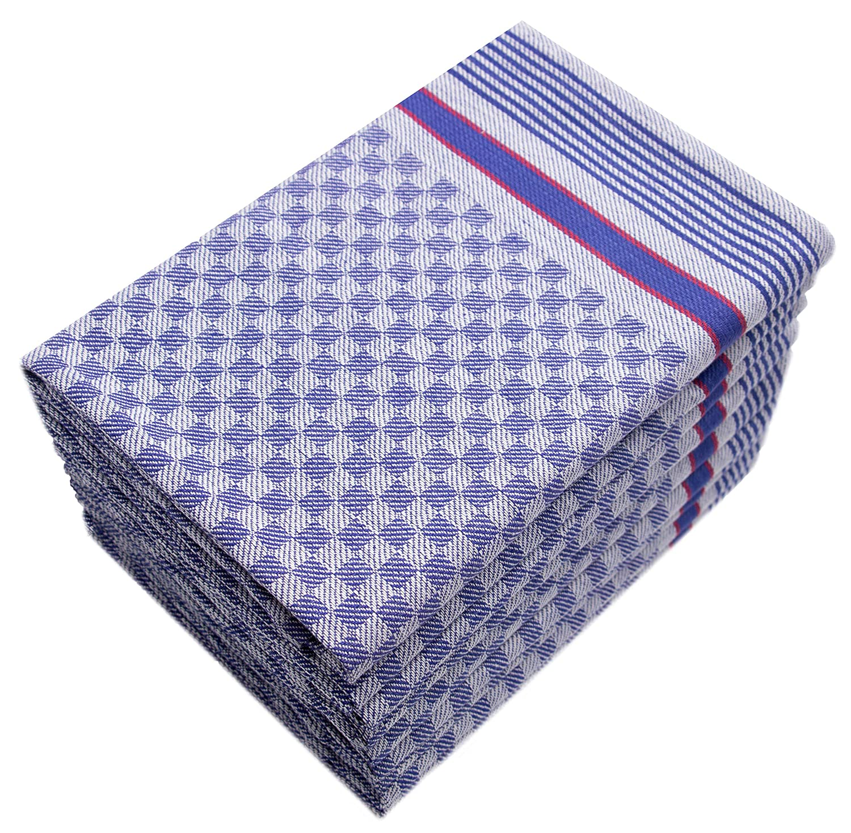 ZOLLNER 10 Trapos de Cocina Grandes a Cuadros Azules 50x100 cm 100/% algod/ón