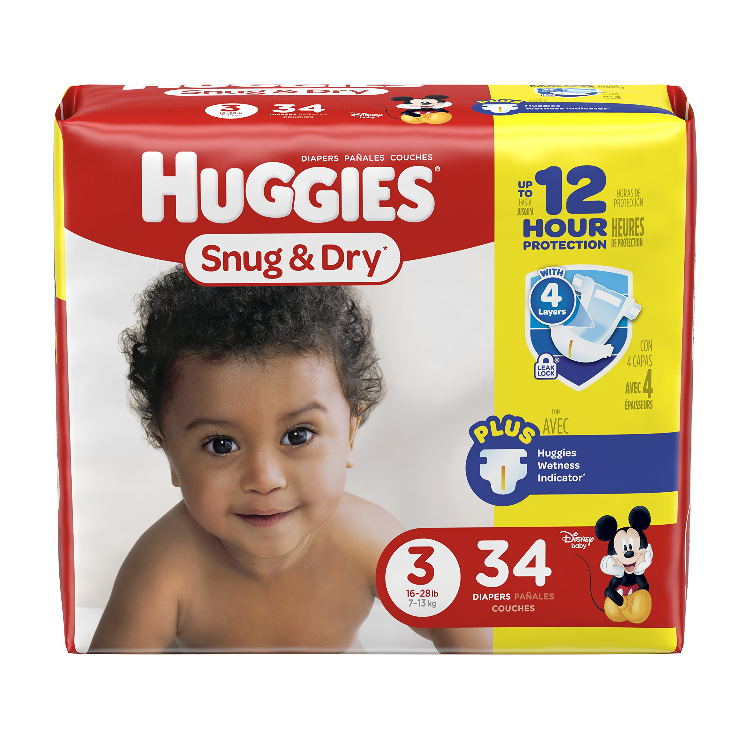HUGGIES Snug & Dry Diapers, Size 3, 34 Count (Packaging May Vary)