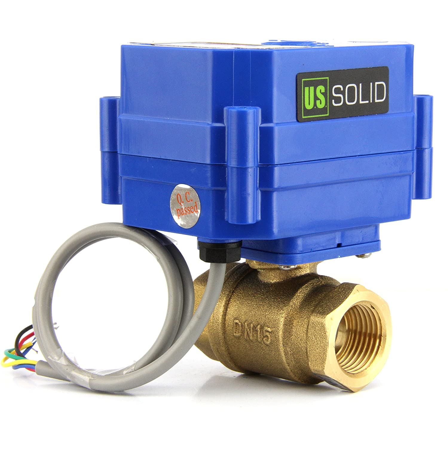 """9-24V DC and 5 Wire Setup Solid by U.S Indicate Open or Closed Position can be used with Indicator Lights, Motorized Ball Valve- 1/"""" Brass Electrical Ball Valve with Standard"""