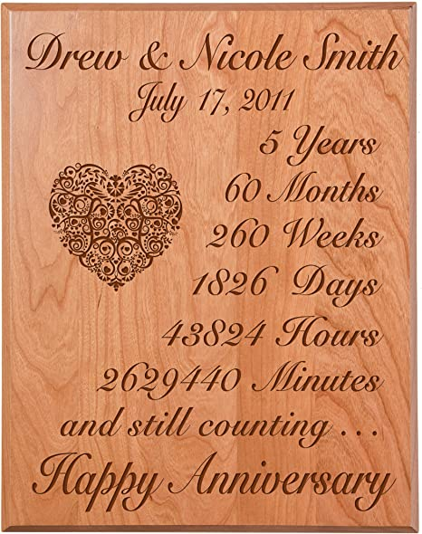 Amazon Com Lifesong Milestones Personalized 5th Wedding Anniversary Wall Plaque Gifts For Couple Custom Made 5 Year Ideas For Her 5th Year Wedding Anniversary For Him Solid Cherry Wood Home Kitchen