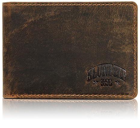 Klondike 1896 Cartera de cuero auténtico Gabe en formato horizontal, elegante monedero de cuero para hombres, marrón