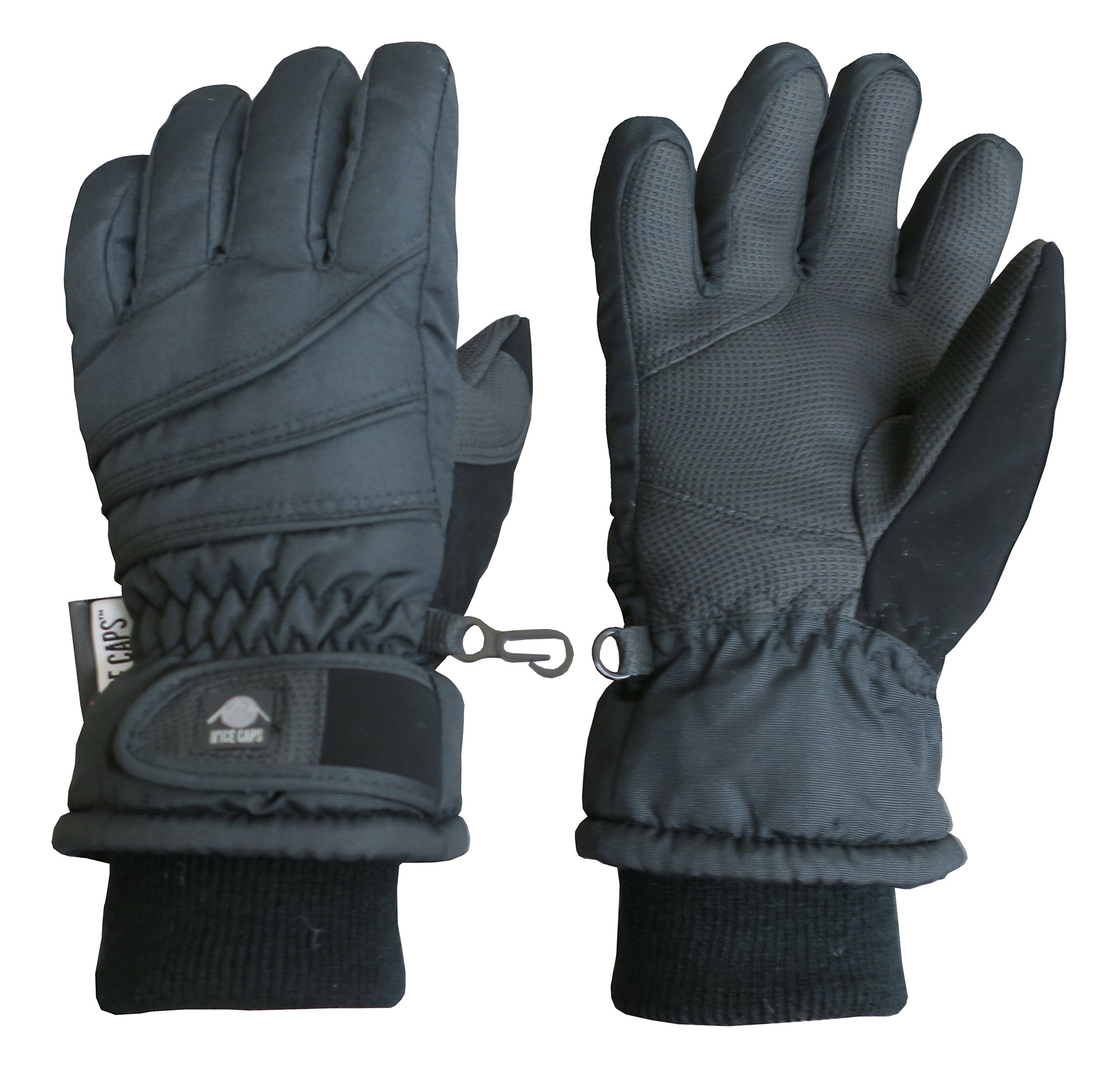 N'Ice Caps Kids Bulky Thinsulate Waterproof Winter Snow Ski Glove With Ridges (Black 1, 10-12yrs)
