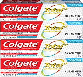 product image for Colgate Total Toothpaste with Whitening, Multi Benefit Stannous Fluoride and Zinc Toothpaste with Sensitivity Relief and Cavity Protection, Clean Mint - 4.8 ounce (4 Pack)
