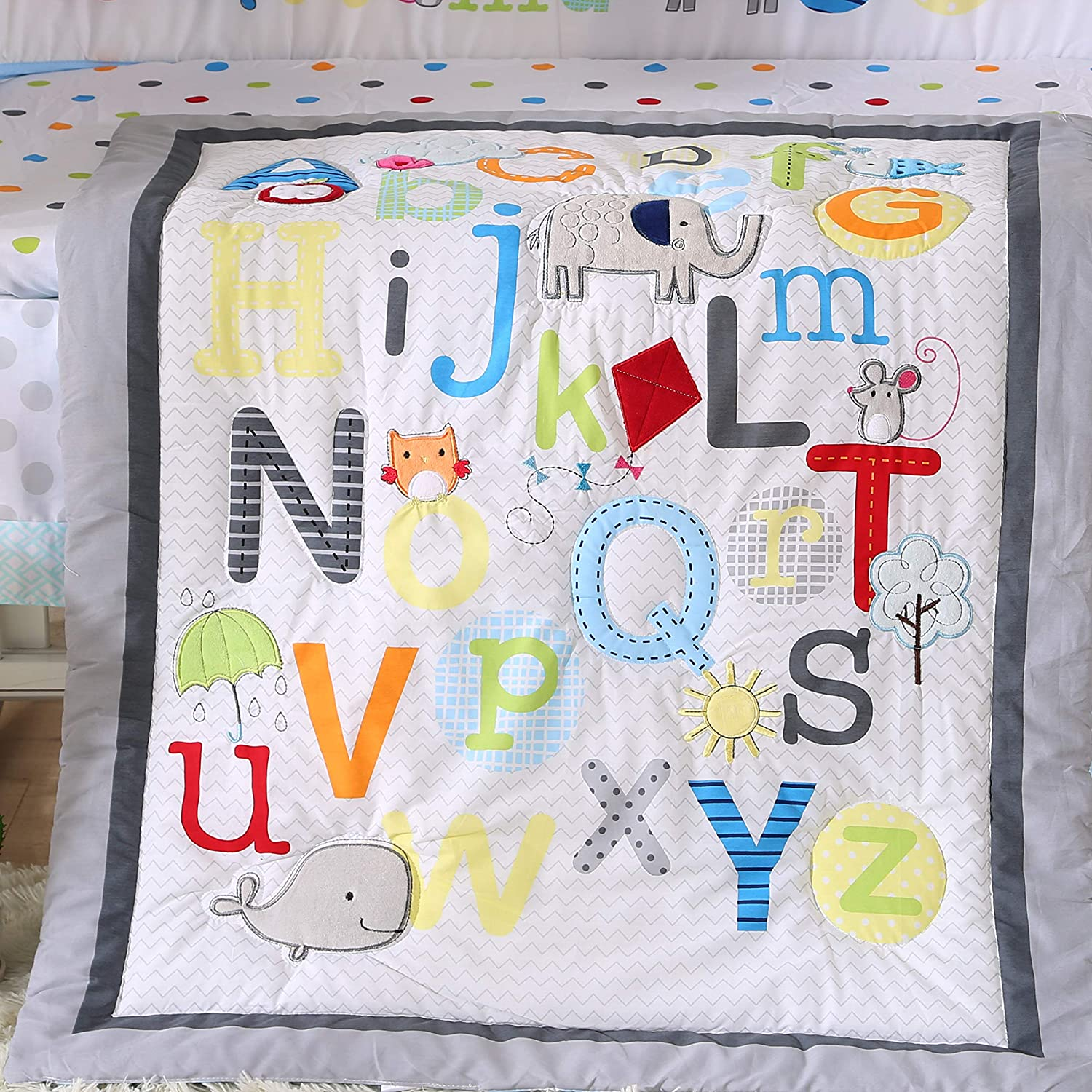 Wowelife Alphabet Crib Bedding Sets 7 Piece Upgraded Colorful A-Z and Zoo Nursery Crib Set White//Grey//Blue