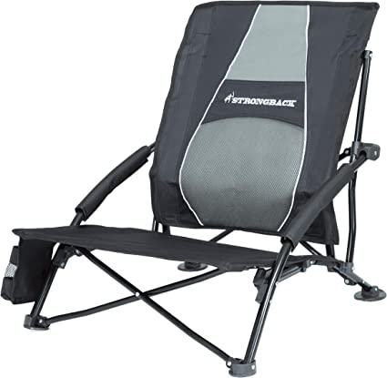 STRONGBACK Low Gravity Beach Chair Heavy Duty Portable Camping and Lounge Travel Outdoor Seat with Built in Lumbar Support