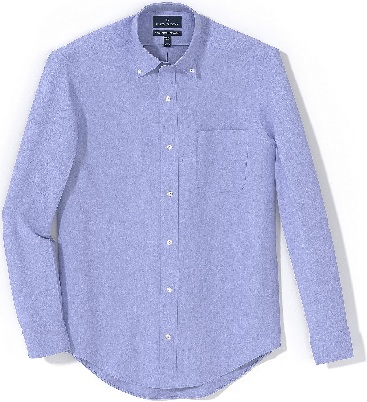 Buttoned Down Mens Classic Fit Button Collar Solid Non-iron Dress Shirt Long Sleeve Dress Shirt Brand