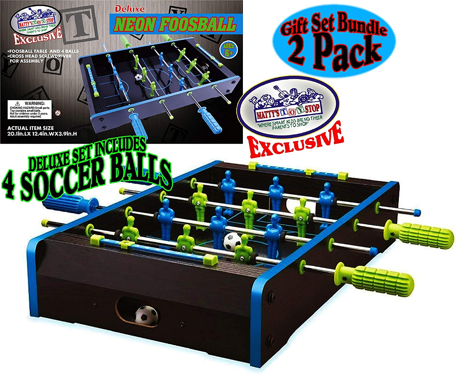 Matty's Toy Stop Deluxe Wooden Mini Tabletop NEON Air Hockey (Extra Pucks) & NEON Foosball (Soccer) (Extra Balls) Games Gift Set Bundle - 2 Pack : Sports & Outdoors