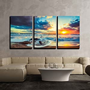 wall26 - 3 Piece Canvas Wall Art - Beautiful Cloudscape Over The Sea, Sunrise Shot - Modern Home Art Stretched and Framed Ready to Hang - 24